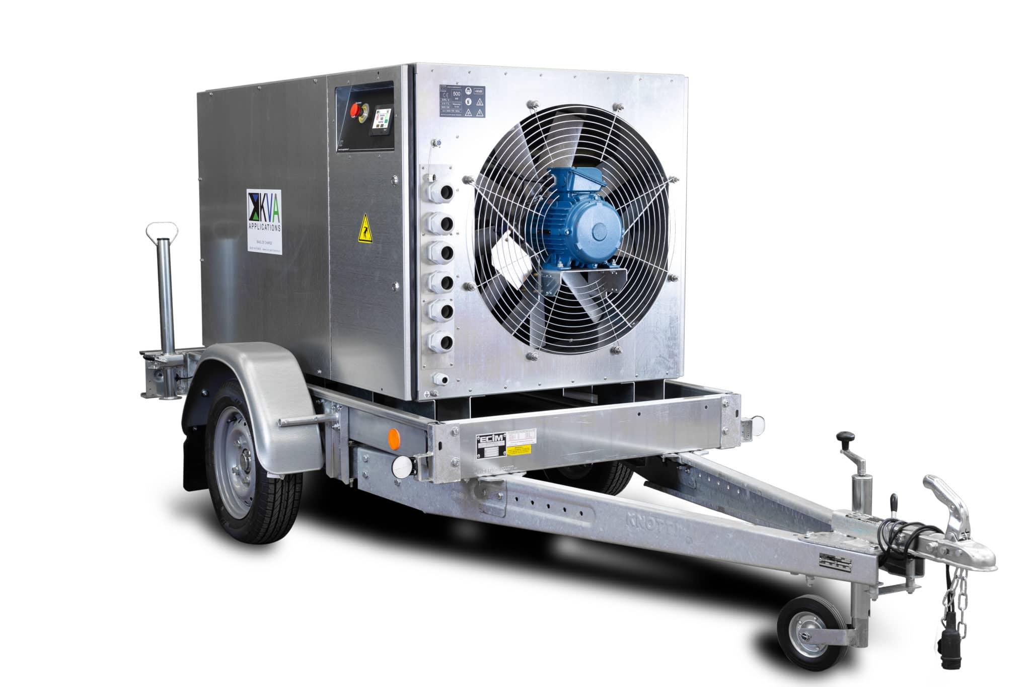 Banc de charge sur remorque pour tester équipements et sources d'énergie électriques